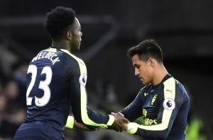 Arsenal's Alexis Sanchez is replaced by Danny Welbeck.
