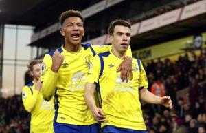 Everton's Seamus Coleman celebrates scoring their first goal with Mason Holgate.