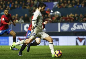 "Real Madrid's Francisco ""Isco"" Alarcon scores a goal."