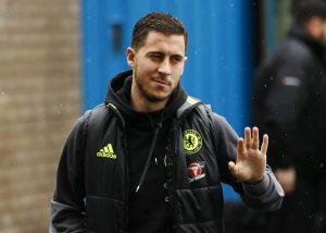 Chelsea's Eden Hazard arrives for the match.