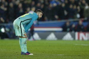 Barcelona's Jordi Alba looks dejected.