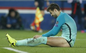 Barcelona's Gerard Pique looks dejected.