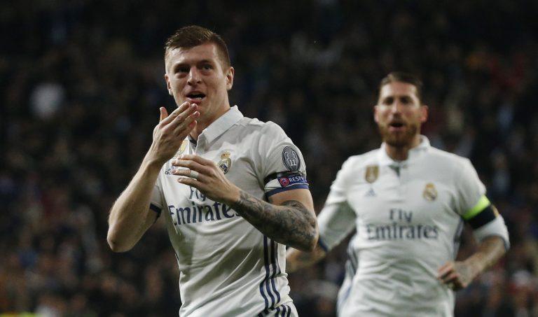 Real Madrid's Toni Kroos celebrates scoring their second goal.