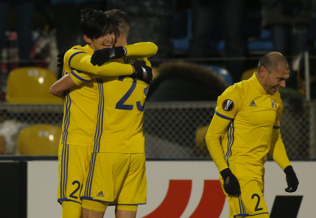 Rostov's Sardar Azmoun celebrates with his team mates after scoring a goal.