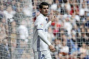 Real Madrid's Alvaro Morata celebrates after scoring against Espanyol.
