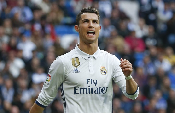 Real Madrid's Cristiano Ronaldo reacts during the match against Espanyol.