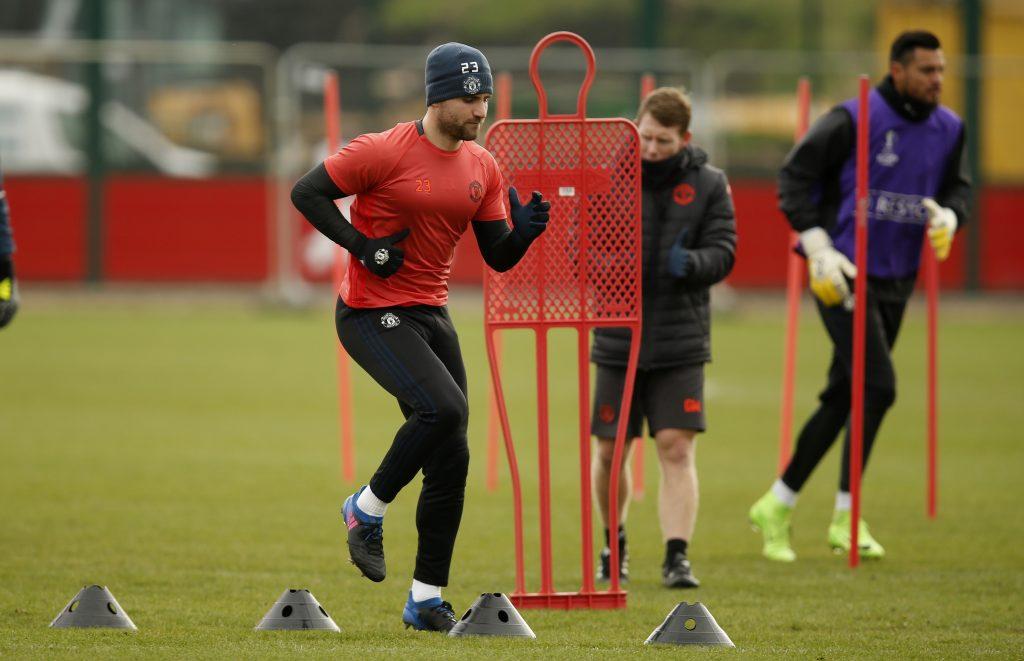 Luke Shaw during training.