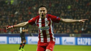 Atletico Madrid's Saul Niguez celebrates scoring their first goal.