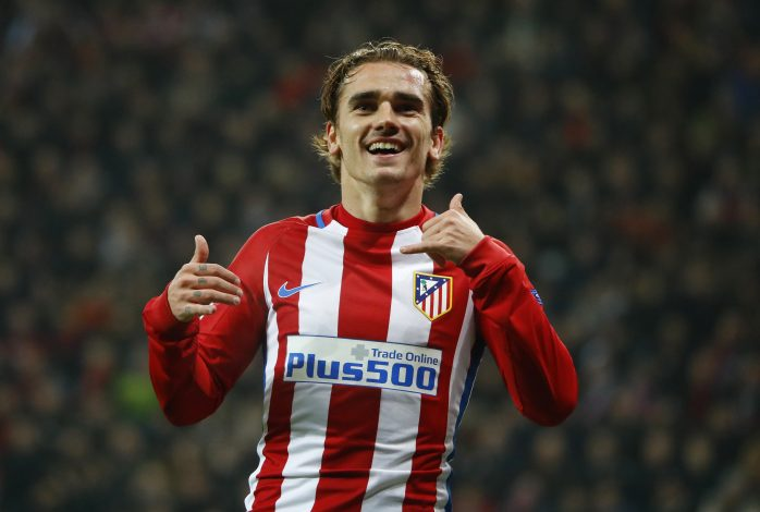 Atletico Madrid's Antoine Griezmann celebrates scoring their second goal.