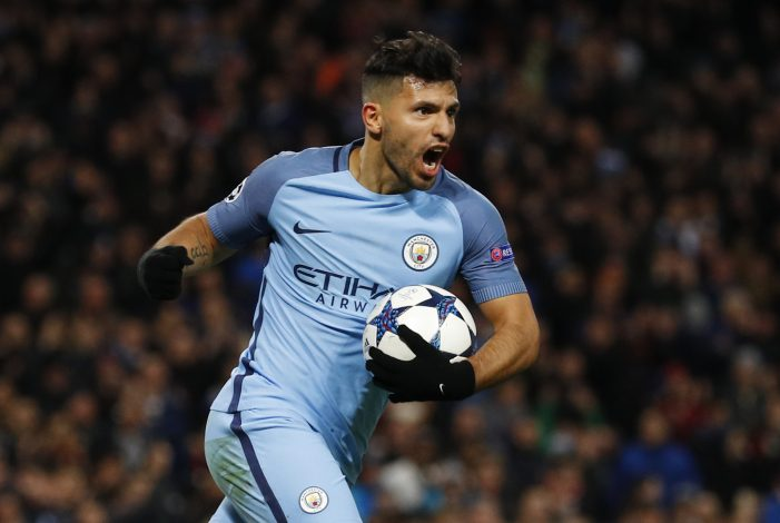 Manchester City's Sergio Aguero celebrates scoring their second goal.