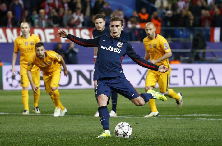 Atletico's Antoine Griezmann scores their second goal against Barcelona.