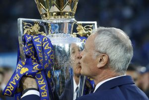 Leicester City manager Claudio Ranieri with the trophy.