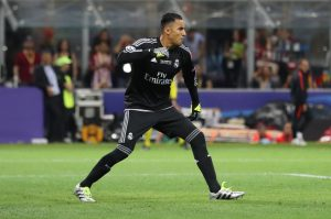 Real Madrid's Keylor Navas celebrates.
