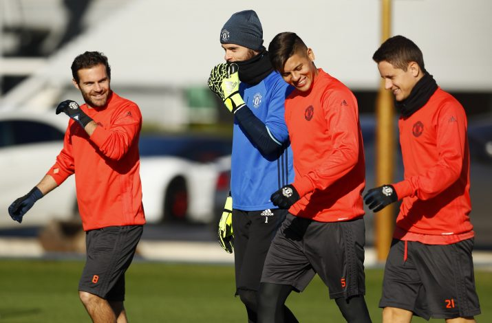 Manchester United's Juan Mata, David De Gea, Marcos Rojo and Ander Herrera during training.