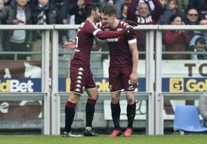 Torino's Andrea Belotti celebrates after scoring against Juventus.