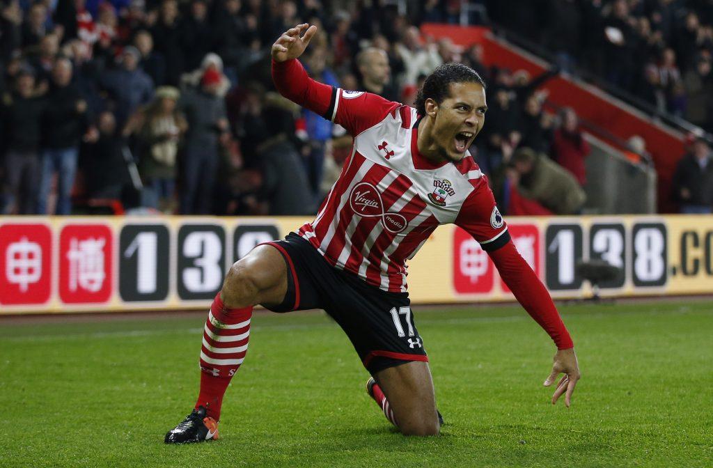 Southampton's Virgil van Dijk celebrates.