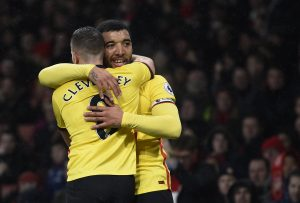 Watford's Troy Deeney celebrates scoring their second goal with Tom Cleverley.