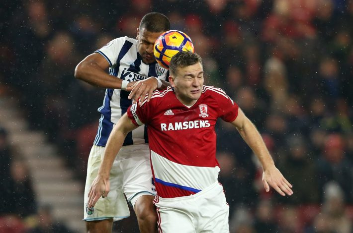 Middlesbrough's Ben Gibson in action with West Bromwich Albion's Salomon Rondon.