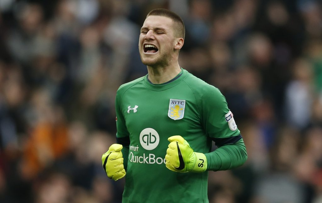 Aston Villa's Sam Johnstone celebrates after their second goal.