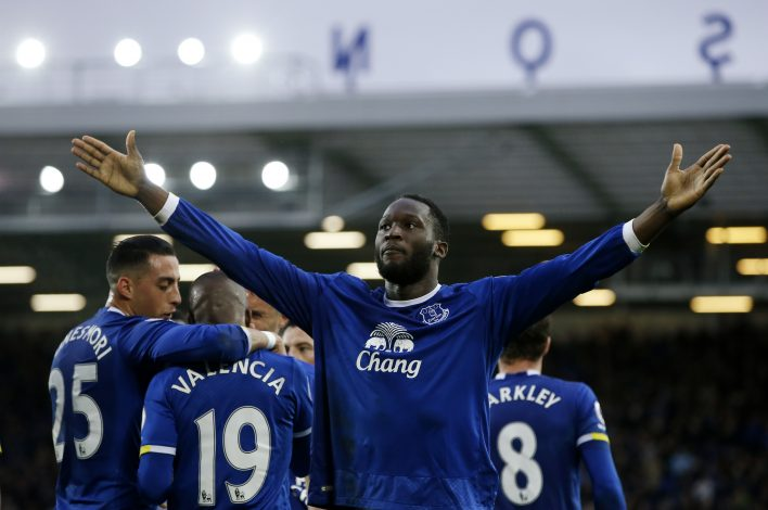 Romelu Lukaku celebrates scoring.