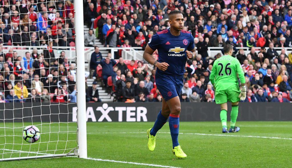 Antonio Valencia celebrates scoring.