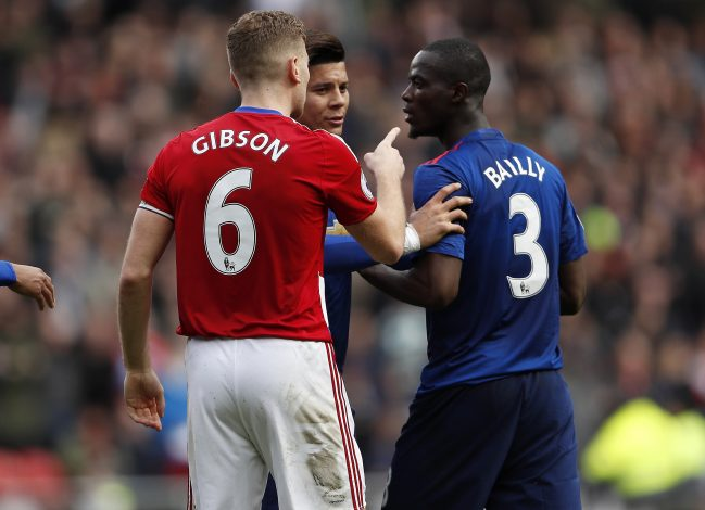 Eric Bailly clashes with Middlesbrough's Ben Gibson.