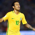 Brazil's Neymar celebrates his goal.
