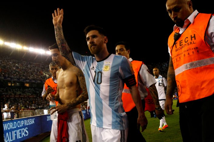 Argentina's Lionel Messi leaves the field after their match.