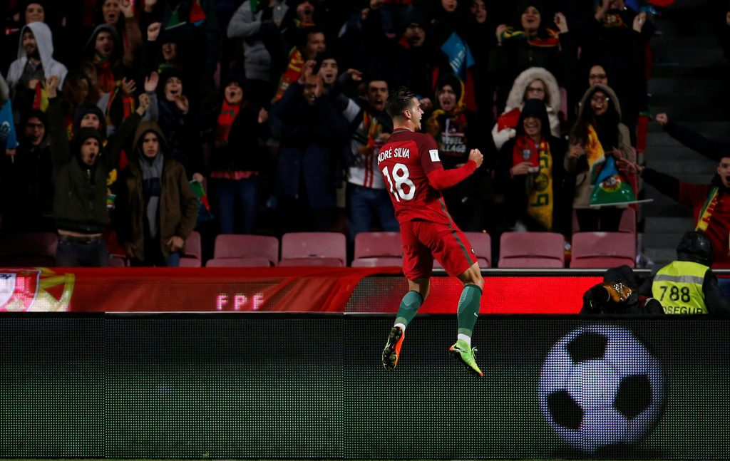 Football Soccer - Portugal v Hungary - World Cup 2018 Qualifiers European Zone Group B - Luz stadium, Lisbon,  Portugal, 25/03/17. Portugal's Andre Silva celebrates his goal against Hungary.   REUTERS/Rafael Marchante - RTX32PJ9