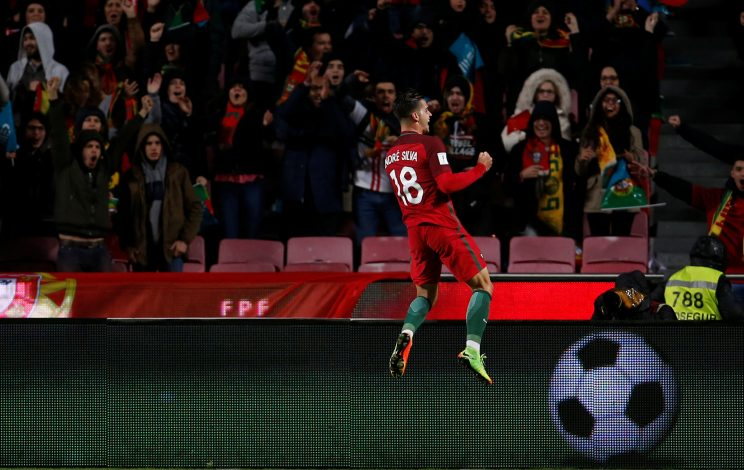 Portugal's Andre Silva celebrates his goal against Hungary.