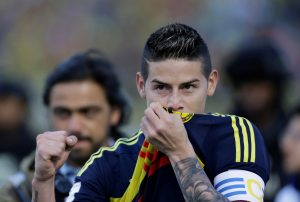 Colombia's player James Rodriguez celebrates his victory match against Ecuador.