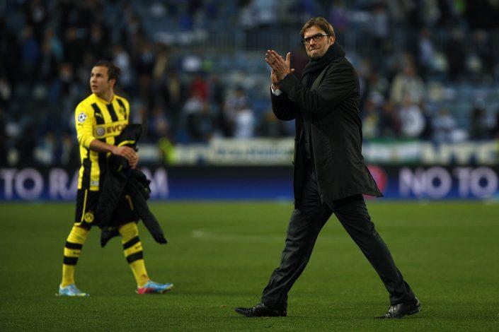 Borussia Dortmund's coach Jurgen Klopp and Mario Gotze.
