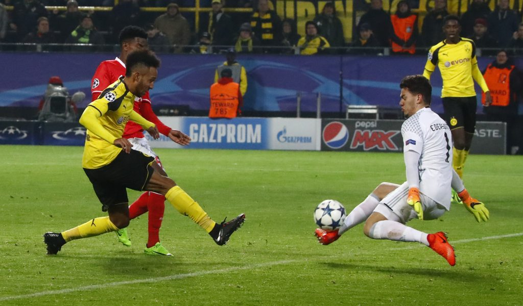 Benfica's Ederson saves from Borussia Dortmund's Pierre-Emerick Aubameyang.