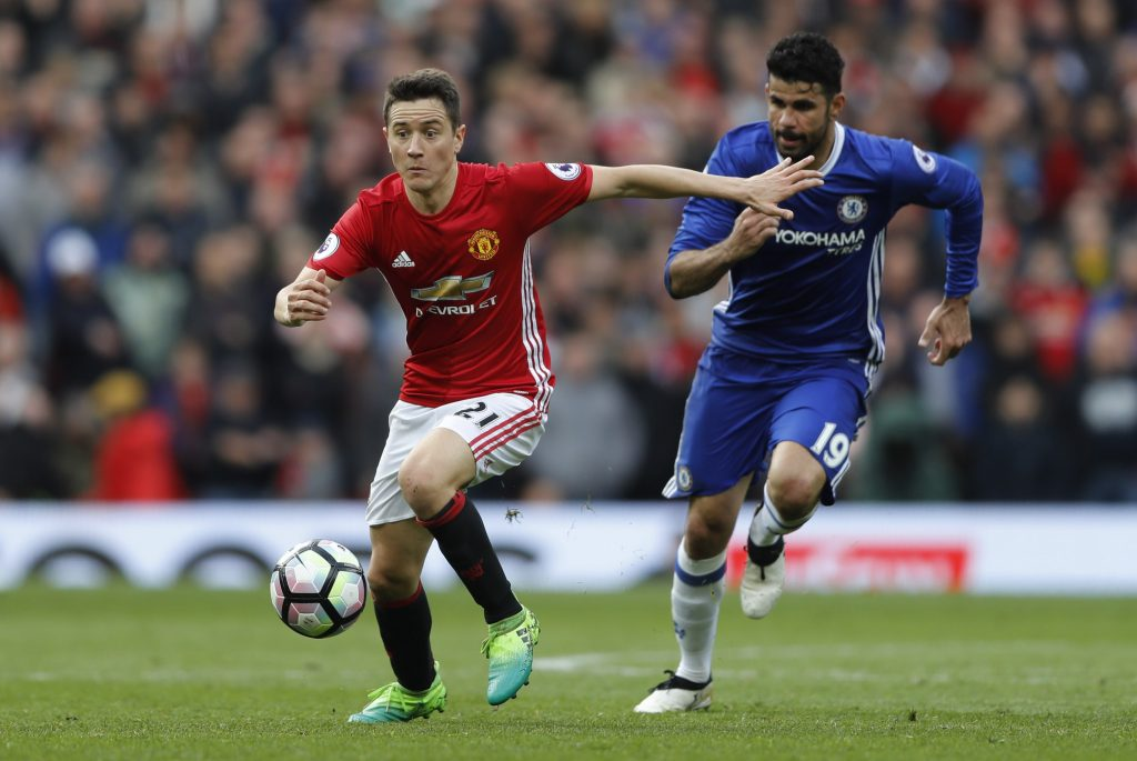 Manchester United's Ander Herrera in action with Chelsea's Diego Costa.