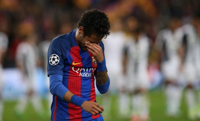 Barcelona's Neymar looks dejected after the match.