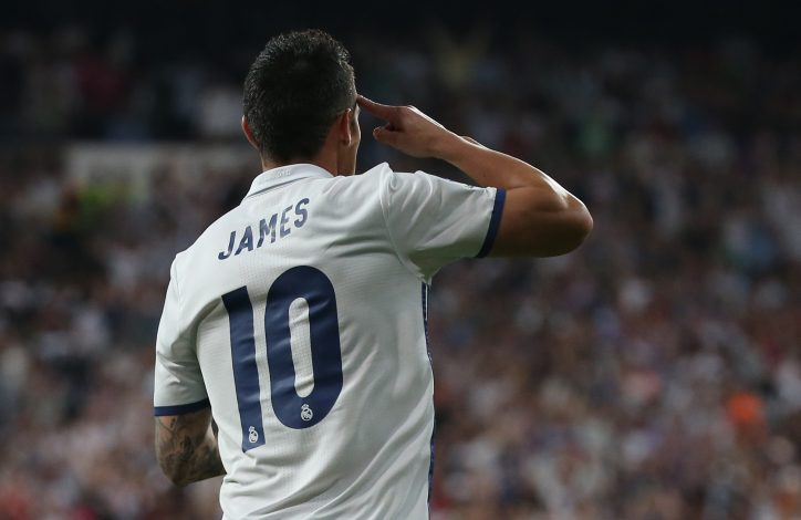 Real Madrid's James Rodriguez celebrates scoring their second goal.
