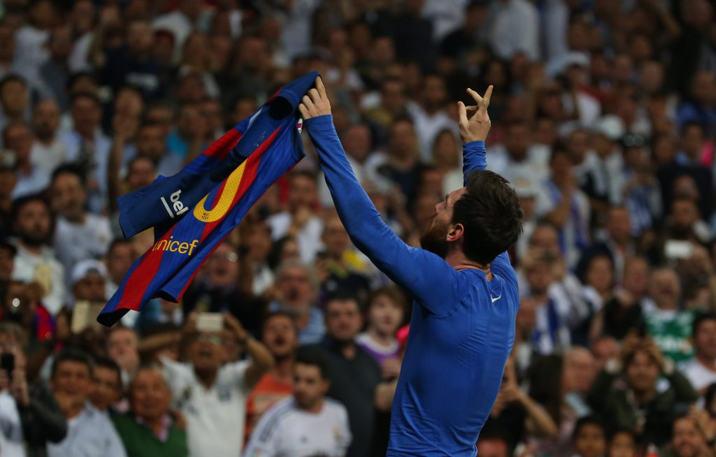 Barcelona's Lionel Messi celebrates scoring their third goal.