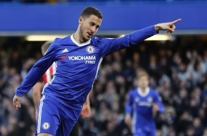 Chelsea's Eden Hazard celebrates scoring their first goal.