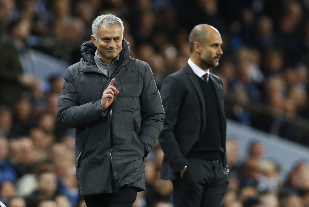 Manchester United manager Jose Mourinho and Manchester City manager Pep Guardiola.
