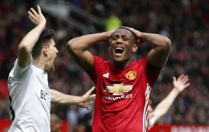 Manchester United's Anthony Martial looks dejected after a missed chance.