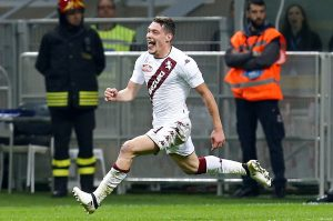Torino's Andrea Belotti celebrates after scoring.