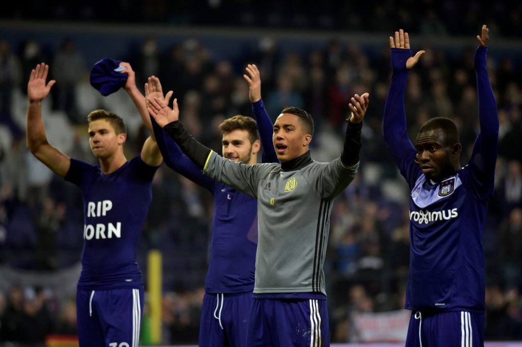 RSC Anderlecht's Youri Tielemans (2R) and his teammates celebrate victory.