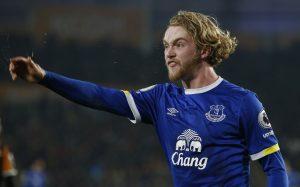 Everton's Tom Davies reacts.