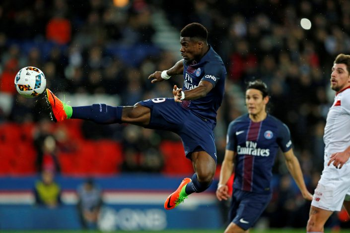 PSG's Serge Aurier in action.
