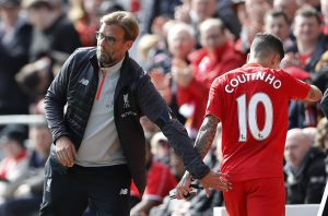 Liverpool manager Juergen Klopp looks on as Liverpool's Philippe Coutinho is substituted off.