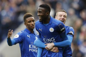 Leicester City's Wilfred Ndidi celebrates.