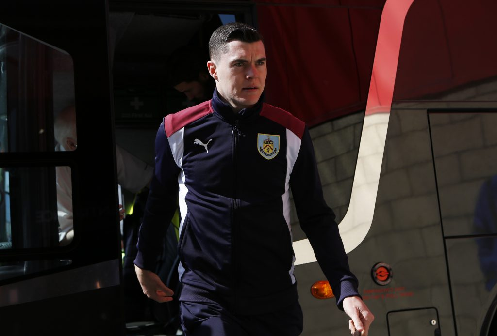 Burnley's Michael Keane arrives before the match.