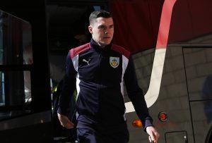 Burnley's Michael Keane arrives before the match.
