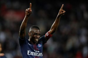 PSG's Blaise Matuidi reacts after scoring.