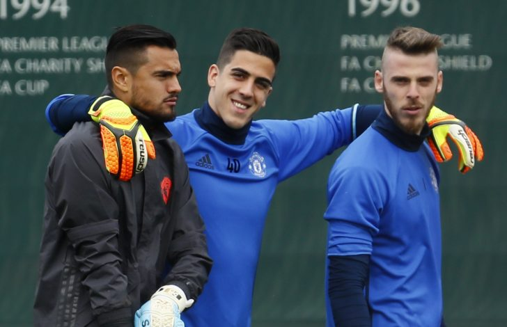 Manchester United's Sergio Romero, Joel Castro Pereira and David De Gea during training.